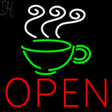 Custom Coffee Cup Logo Open Neon Sign 1