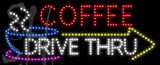 Custom Coffee Drive Thru With Yellow Arrow Double Sided View Led Sign 2