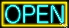 Aqua Open With Yellow Border Neon Sign