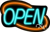 Deco Style Aqua Open With Orange Border Neon Sign