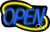 Deco Style Blue Open With Yellow Border Neon Sign