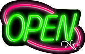 Deco Style Green Open With Pink Border Neon Sign