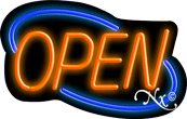 Deco Style Orange Open With Blue Border Neon Sign