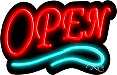 Deco Style Red Open With Aqua Line Neon Sign