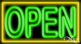 Double Stroke Green Open With Yellow Border Neon Sign