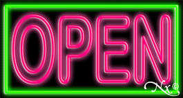 Double Stroke Pink Open With Green Border Neon Sign