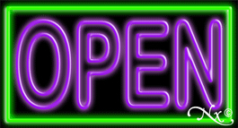 Double Stroke Purple Open With Green Border Neon Sign