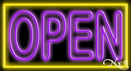 Double Stroke Purple Open With Yellow Border Neon Sign