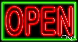 Double Stroke Red Open With Green Border Neon Sign