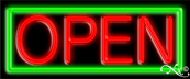 Green Border With Red Open Neon Sign