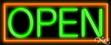 Green Open With Orange Border Neon Sign