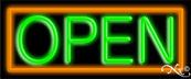 Orange Border With Green Open Neon Sign