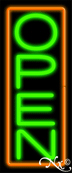 Orange Border With Green Vertical Open Neon Sign