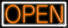 Orange Open With White Border Neon Sign