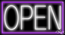 Purple Border With White Open Neon Sign