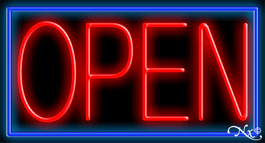 Red Border With Blue Open Neon Sign