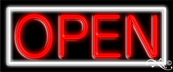 White Border With Red Open Neon Sign