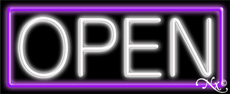 White Open With Purple Border Neon Sign