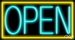 Yellow Border With Aqua Open Neon Sign