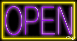 Yellow Border With Purple Open Neon Sign