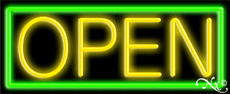 Yellow Open With Green Border Neon Sign