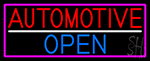 Automotive Open With Pink Border LED Neon Sign