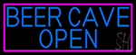 Blue Beer Cave Open With Pink Border LED Neon Sign