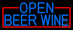 Blue Open Beer Wine With Red Border LED Neon Sign