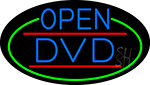 Blue Open Dvd Oval With Green Border Neon Sign