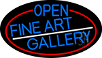 Blue Open Fine Art Gallery Oval With Red Border LED Neon Sign