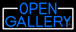 Blue Open Gallery With White Border LED Neon Sign