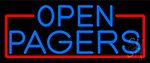 Blue Open Pagers With Red Border LED Neon Sign