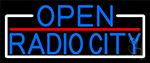 Blue Open Radio City With White Border LED Neon Sign