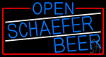 Blue Open Schaefer Beer With Red Border LED Neon Sign