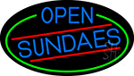 Blue Open Sundaes Oval With Green Border LED Neon Sign