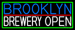 Brooklyn Brewery Open With Green Border LED Neon Sign