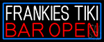 Frankies Tiki Bar Open With Blue Border LED Neon Sign