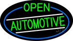Green Open Automotive Oval With Blue Border LED Neon Sign