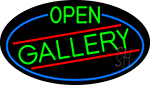 Green Open Gallery Oval With Blue Border LED Neon Sign