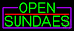 Green Open Sundaes With Purple Border LED Neon Sign