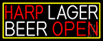 Harp Lager Beer Open With Yellow LED Neon Sign