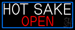 Hot Sake Open With Blue Border LED Neon Sign