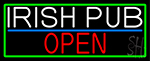 Irish Pub Open With Green Border LED Neon Sign