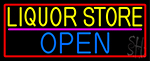Liquor Store Open With Red Border Neon Sign