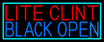 Lite Clint Black Open With Turquoise Border LED Neon Sign