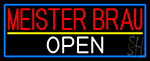 Meister Brau Open With Blue Border LED Neon Sign