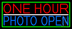 One Hour Photo Open With Green Border LED Neon Sign