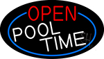 Open Pool Time Oval With Blue Border Neon Sign