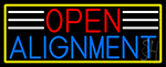 Open Alignment With Yellow Border LED Neon Sign