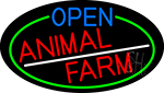 Open Animal Farm Oval With Green Border LED Neon Sign